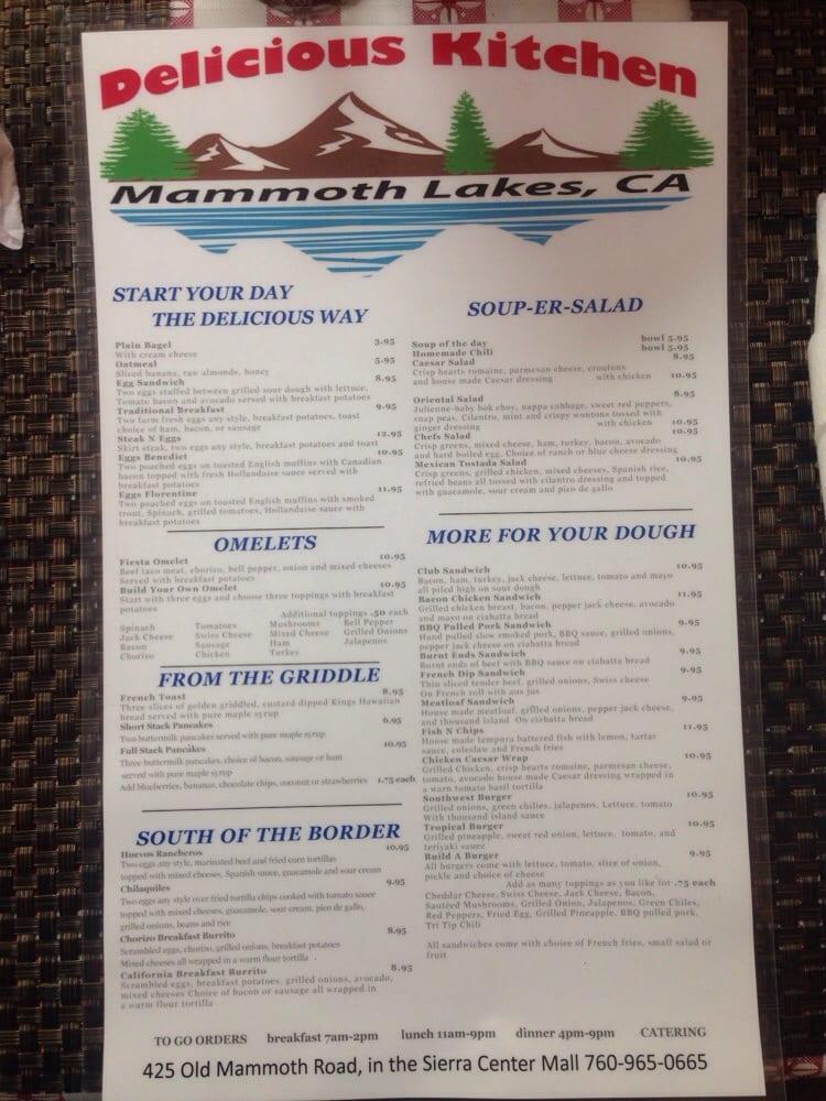Delicious Kitchen Menu Mammoth