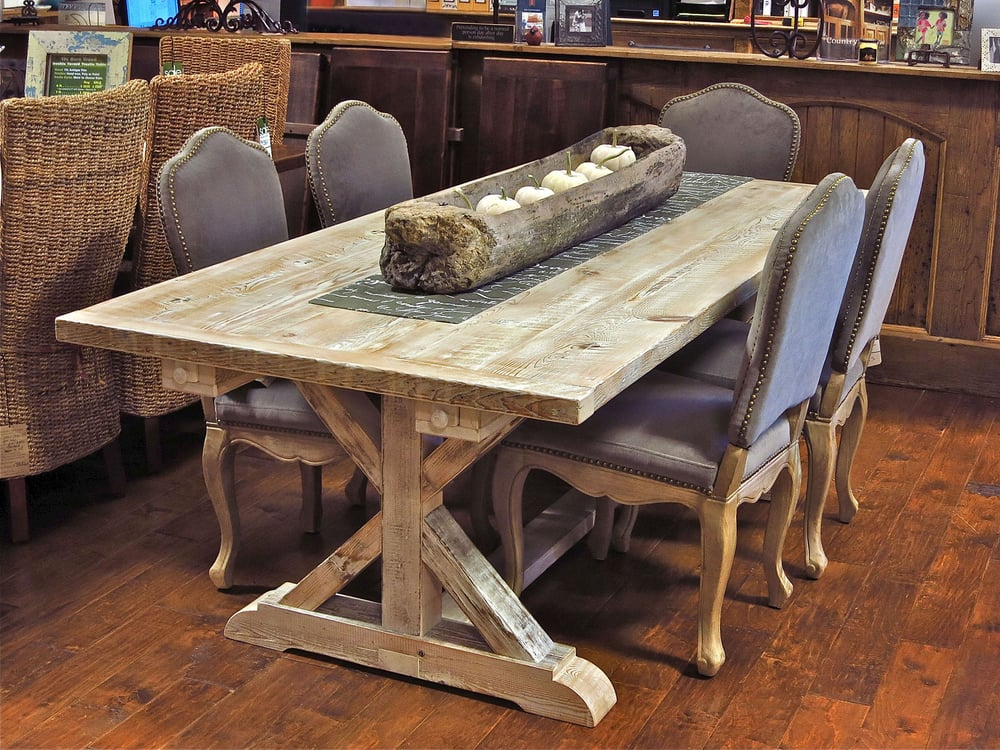 country kitchen tables garden trestle table made from reclaimed new barn 2907