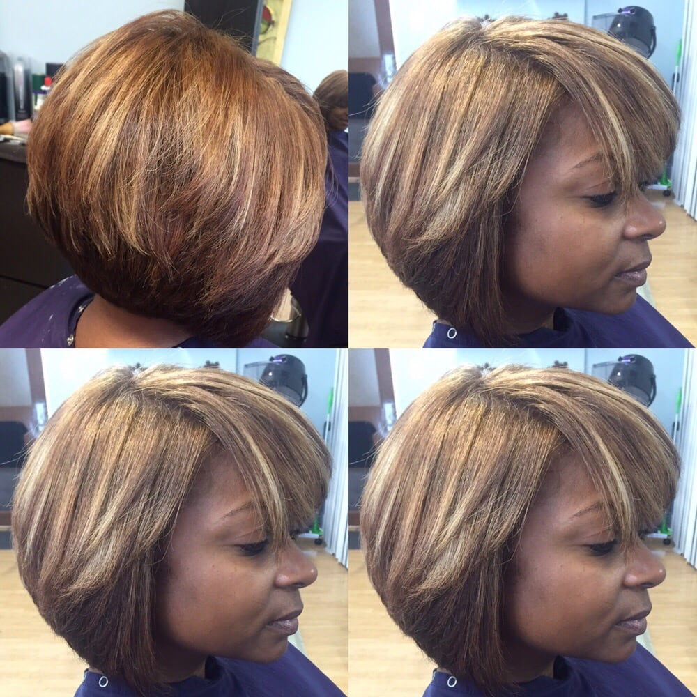 Precision Bob Cut Natural Hair Cuticle Colored To Level 7w Blonde