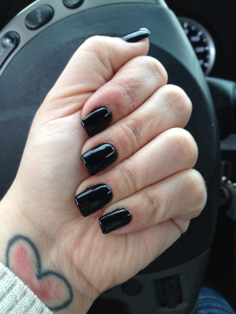 Black gel full set. I like my nails thin and narrow - Yelp