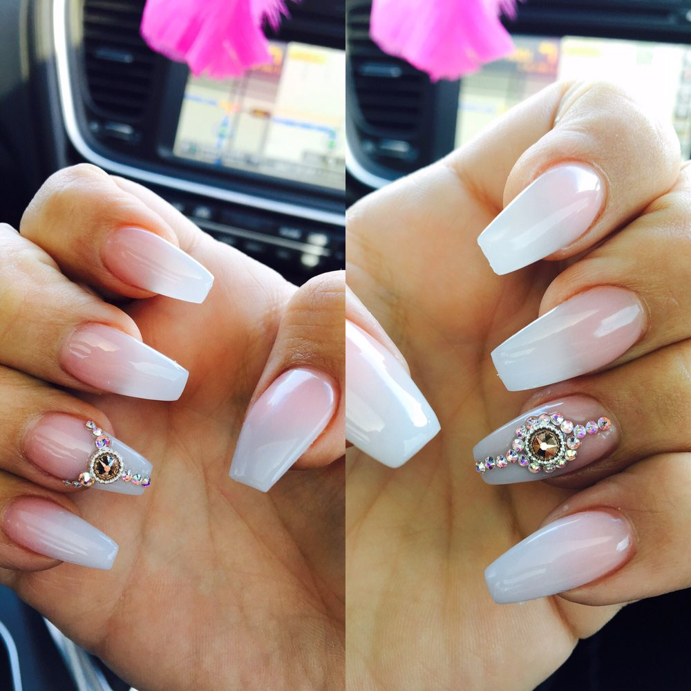 Ombré acrylic nails with coffin tip by Lisa - Yelp