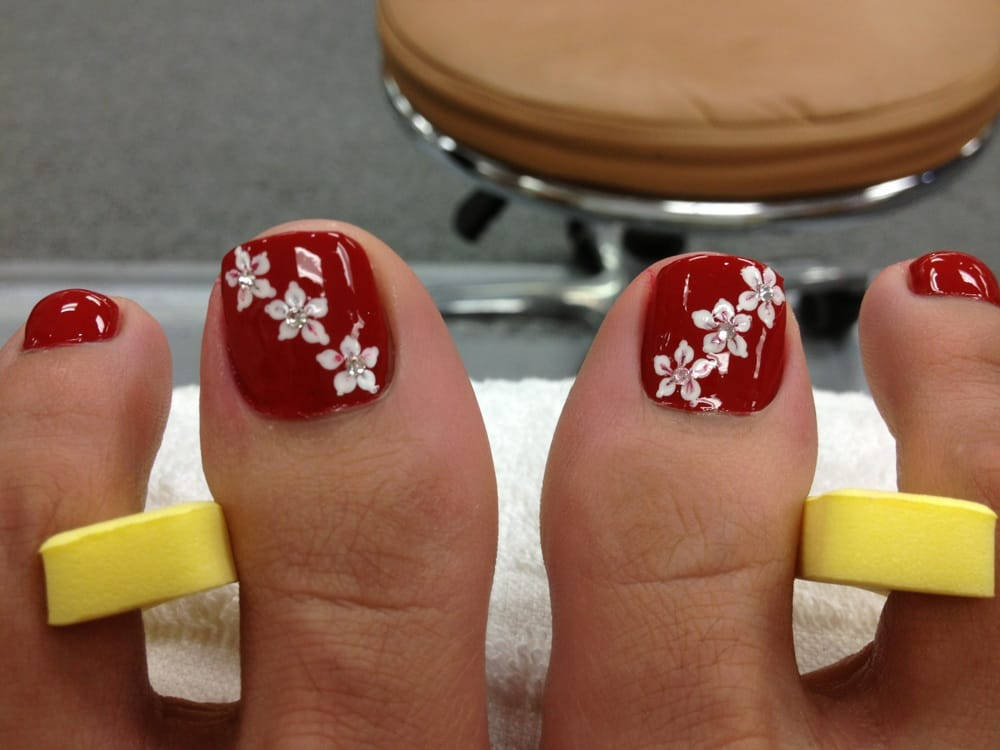 Pedicure flower designs flowers ideas for review toe designs ideas on source photo of color nails boutique temple city ca united states delphine s spa prinsesfo Images