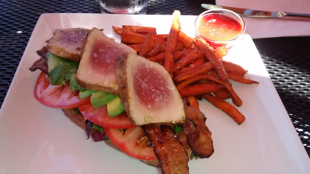 Tuna tartine an sweet potato fries - Yelp