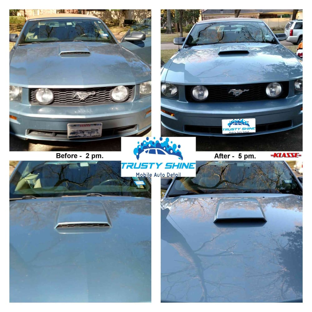 Before and After 2008 Mustang GT - Clay Bar Pollution removal