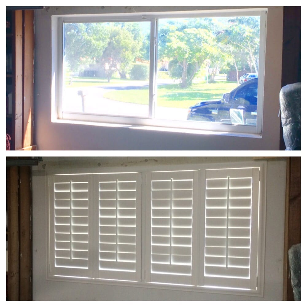 Before And After Garage Window In Plantation Shutters Yelp