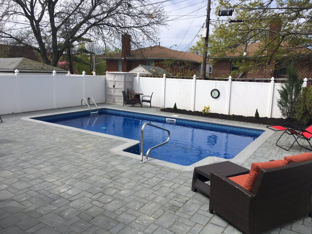 Vinyl inground 14x26 with 4x8 side entry steps yelp Swimming pool water delivery service near me