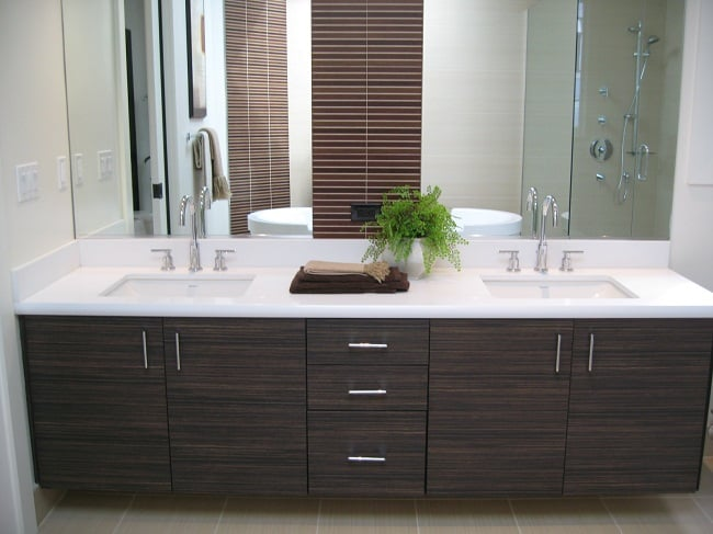 Master bath vanity in wood grain laminate slab door yelp for Dark wood bathroom designs