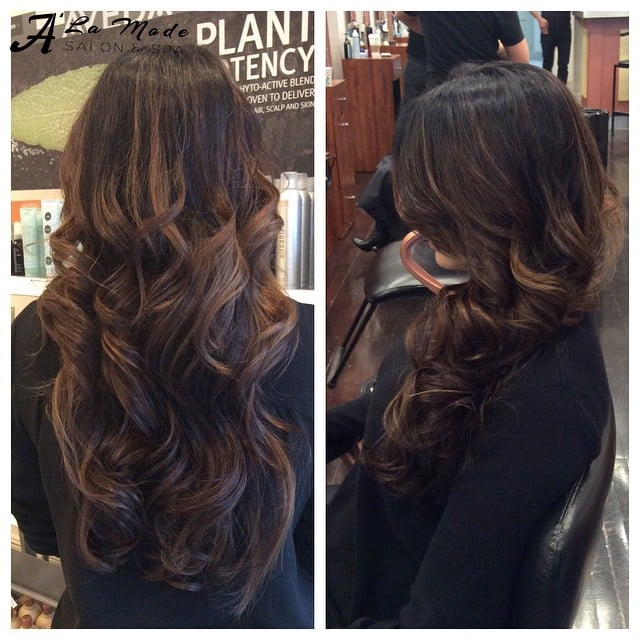 Chocolate Brown Roots With Some Warm Caramel Balayage And