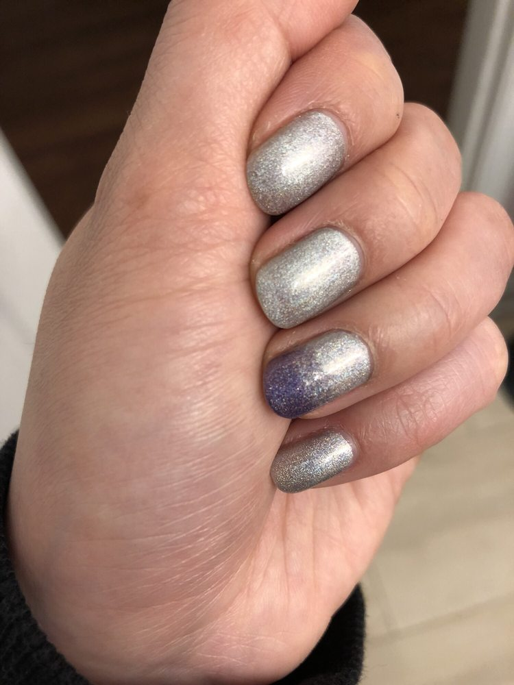 No chip with glittery stellar star nail color and futuristic ombré ...