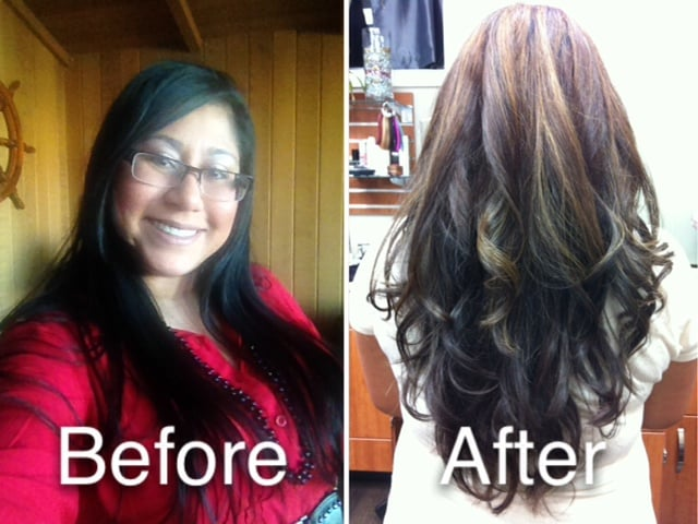 From Black To Brown Base With Partial Carmel Highlights And Long