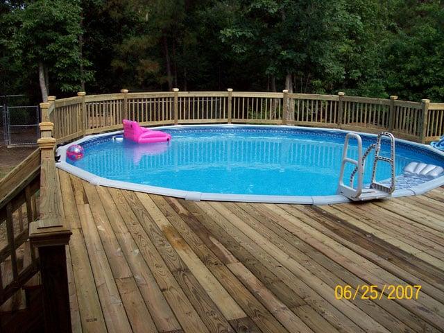 deck around above ground pool yelp. Black Bedroom Furniture Sets. Home Design Ideas