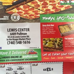 Jet's Pizza Columbus; Jet's Pizza, Lewis Center; Get Menu, Reviews, Contact, Location, Phone Number, Maps and more for Jet's Pizza Restaurant on Zomato. Serves Pizza, Sandwich. Products for Businesses We're hiring. Columbus, Ohio. Pullman Dr, Lewis Center, OH