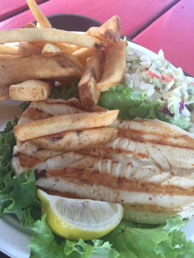 Fresh grilled seafood halibut fries coleslaw for 24 for Malibu seafood fresh fish market patio cafe