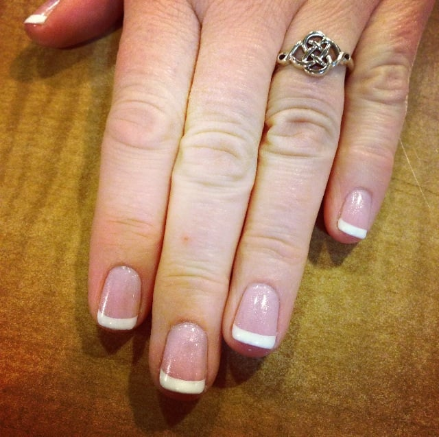 Pink and white OPI gel on natural nails - Yelp