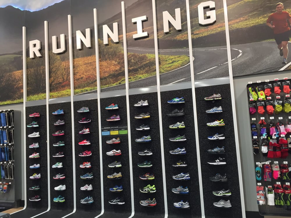 wall of running shoes yelp