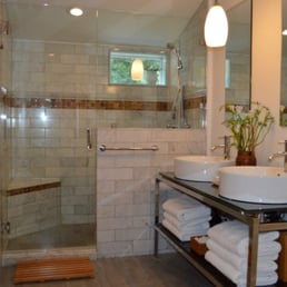 Attic Bathroom With Marble Tiled Walk In Shower Heated
