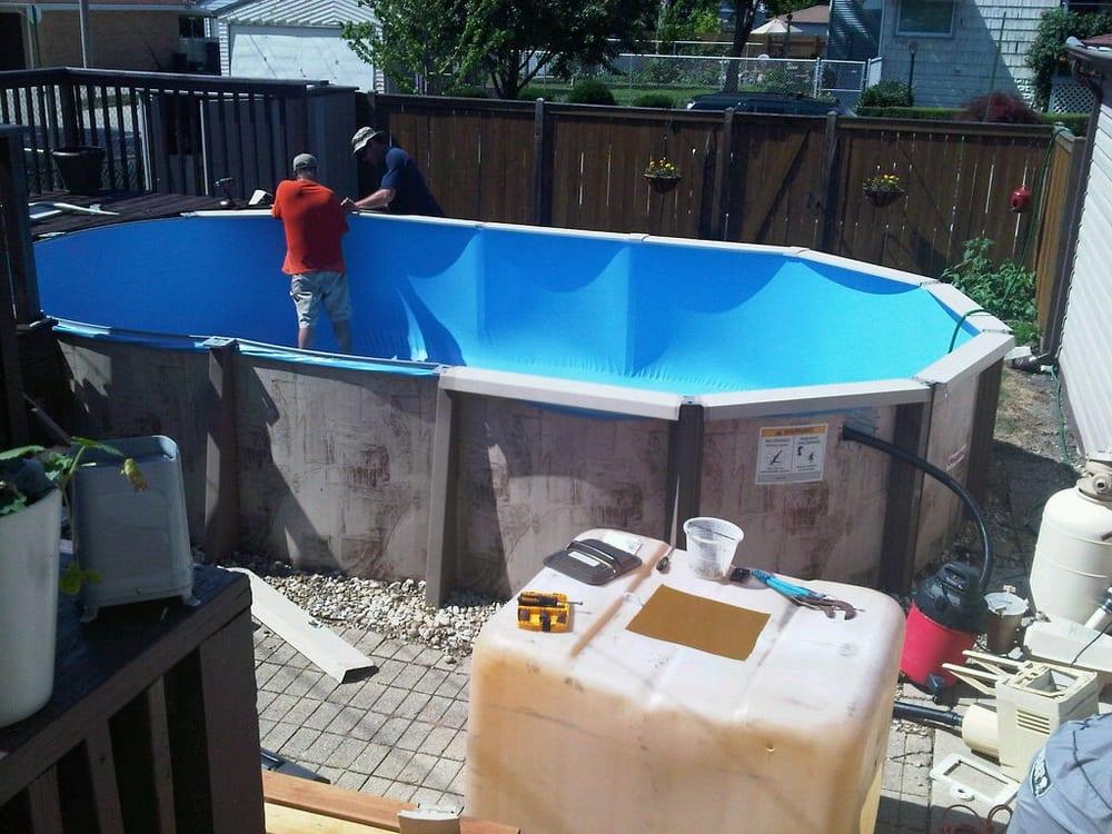 Jeff And Mike Installing New 12x20 Liner In Our Doughboy Pool Yelp
