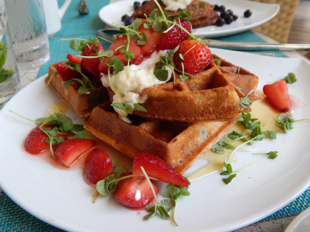 Whole Grain and Coconut Waffle with Greek Yogurt, Fresh ...