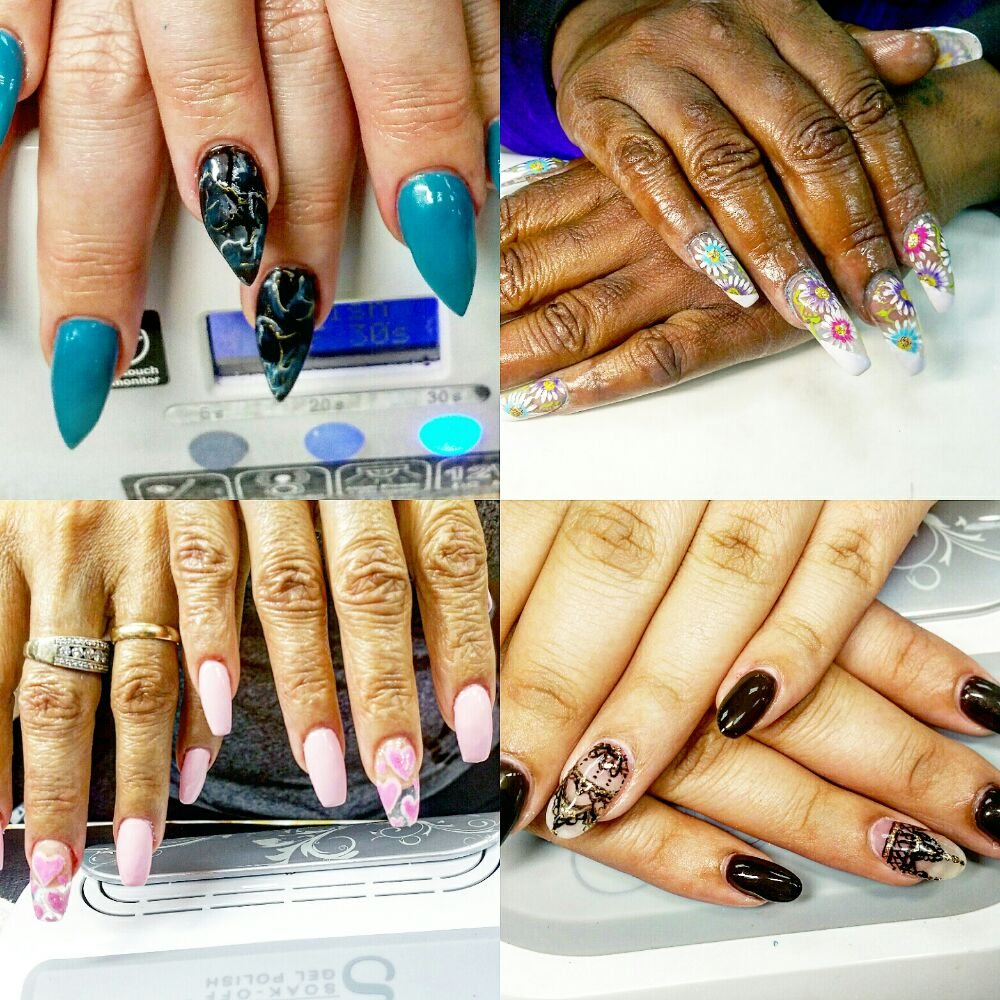 Marble stilleto, garden of daisy, cut out hearts and Gothic nail art ...