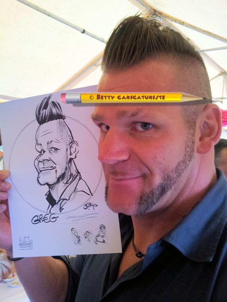 Caricature Homme caricature homme betty caricaturiste au cocktail d'un mariage à