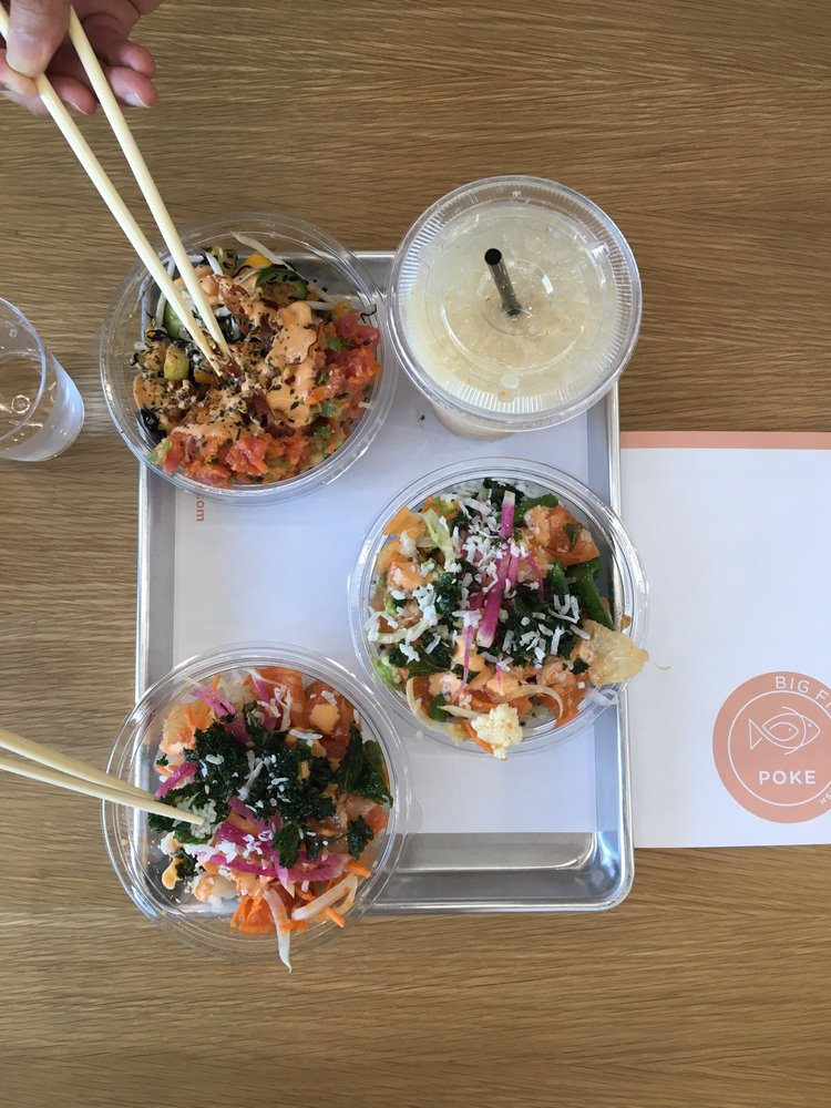 Yummy poke bowls we got the golden state salmon and for Big fish little fish poke