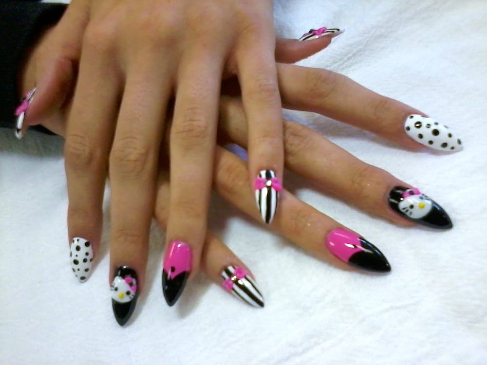 Pointy Acrylic Set W Hand Drawn Nailart Hand Sculpted 3d Bow