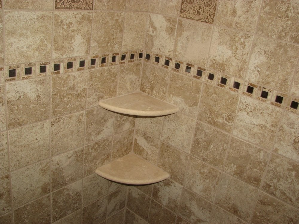 Ceramic Tile Shower With Marble Corner Shelves Marlton Nj