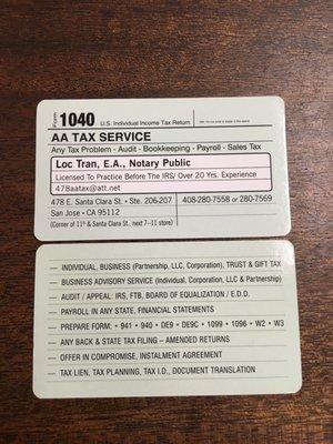 Aa Tax Service 478 E Santa Clara St Ste 206 San Jose Ca Tax Return
