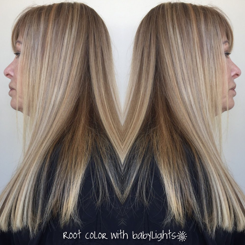 One Length Haircut With Bangs Root Touch Up With Full Head Of Baby