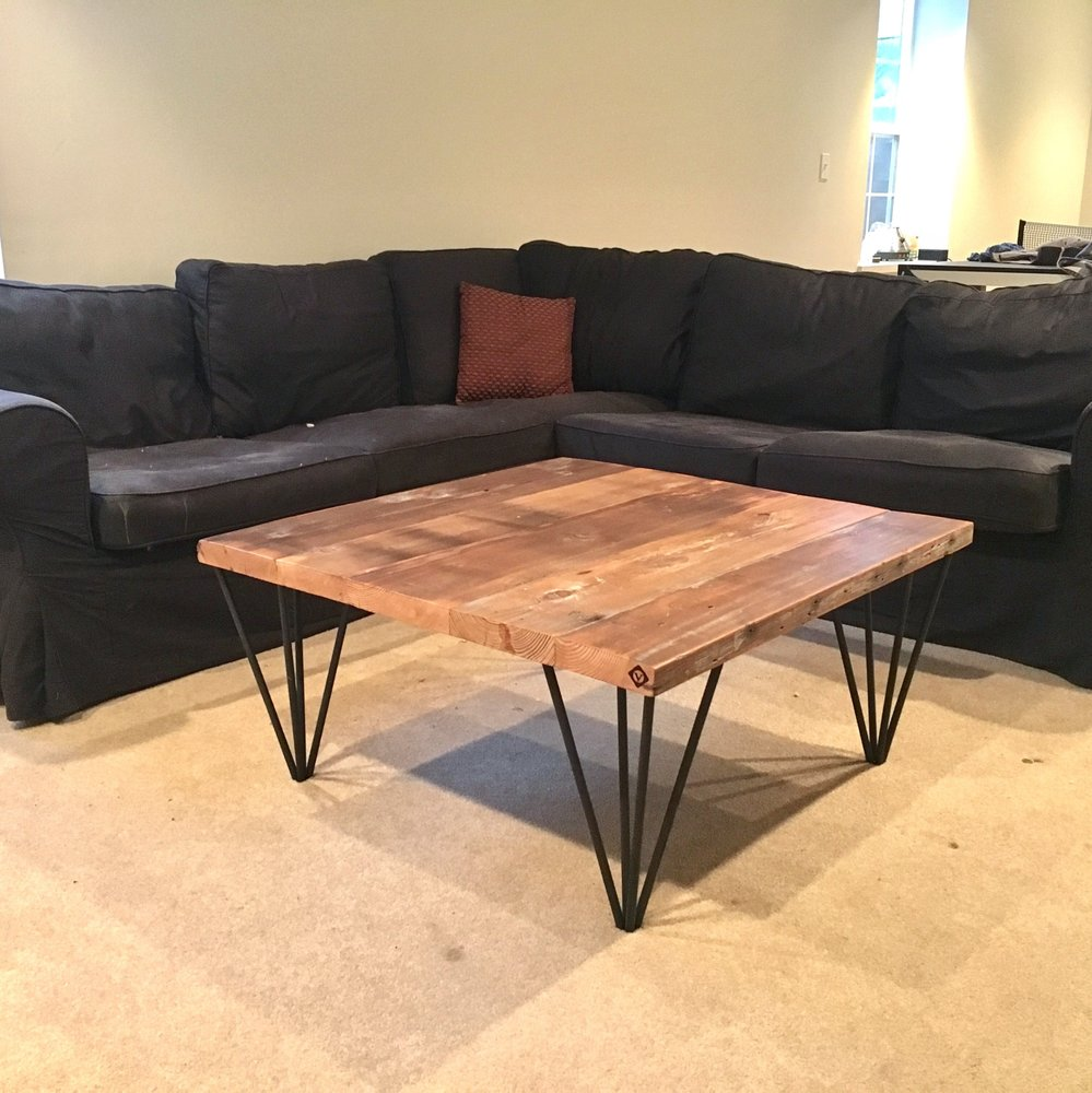 Ft Square Coffee Table With Reclaimed Barn Wood Top And Steel - Reclaimed wood coffee table chicago