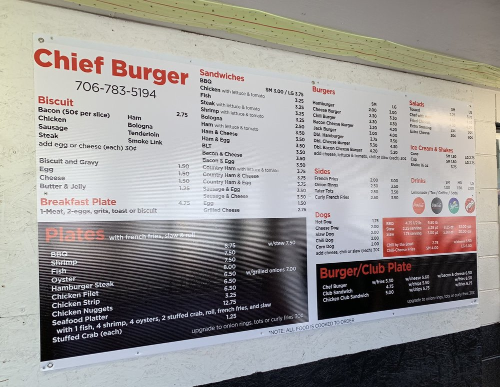 Chief Burger: 718 Sunset Ave, Comer, GA