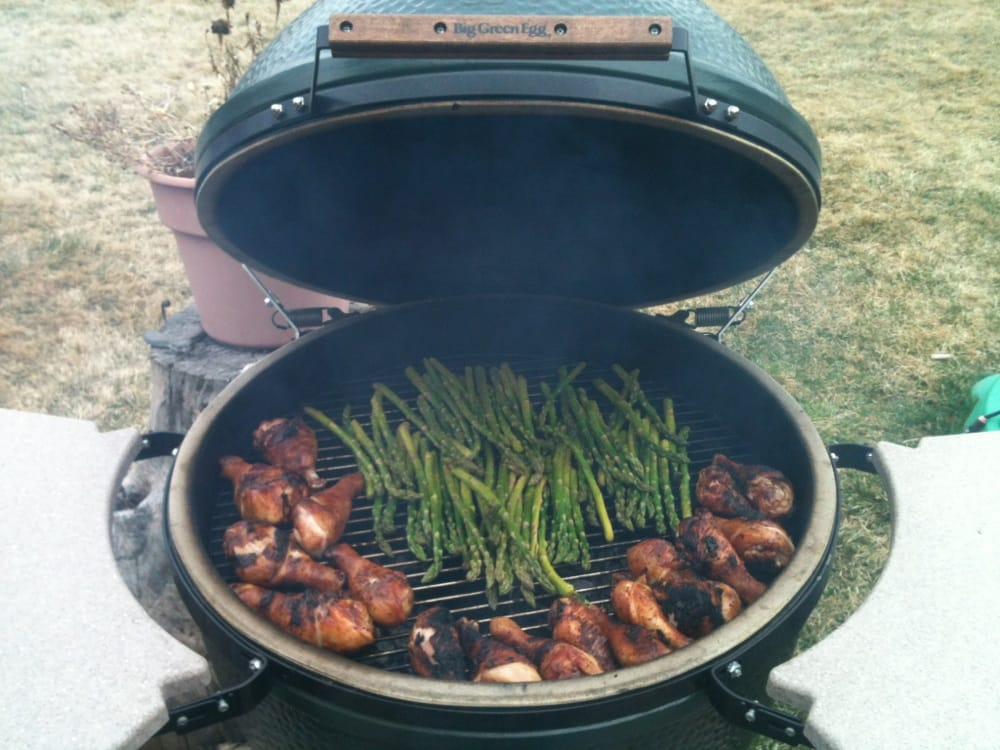 Chicken Legs And Asparagus On A Xl Big Green Egg Yelp