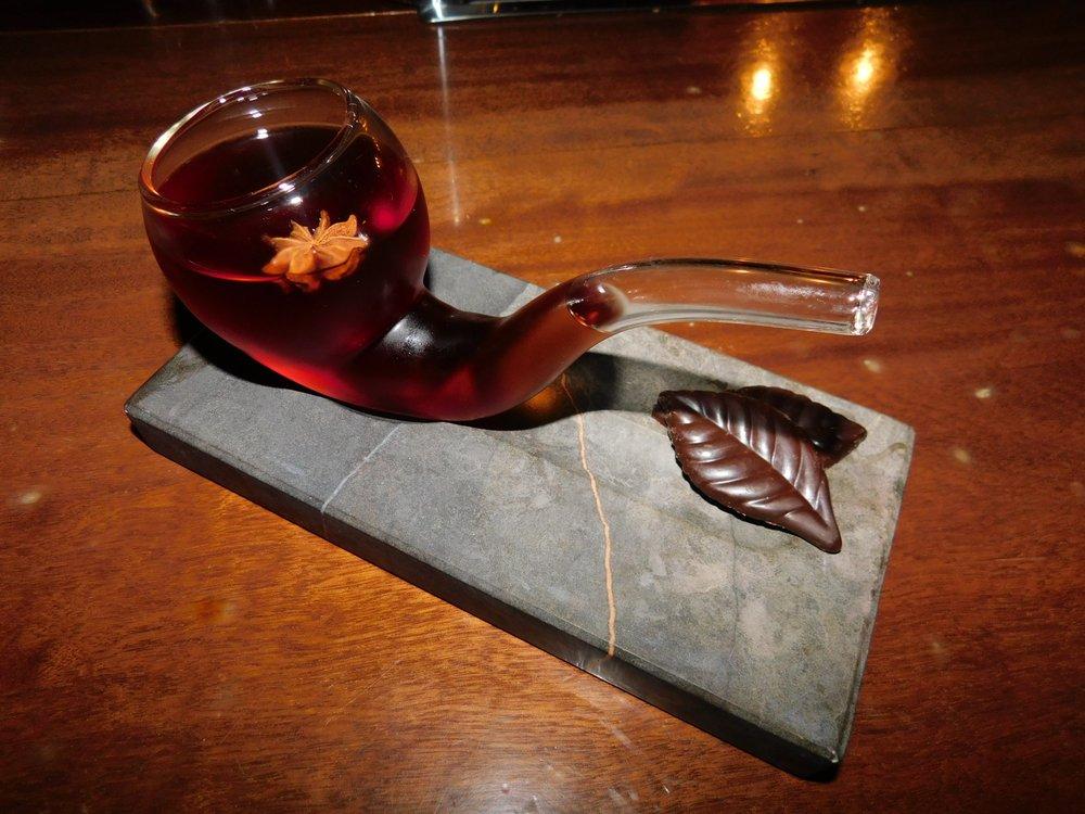 The Pipe: Glenmorangie Whiskey, Crema de Cacao Blanca, Martini Gran
