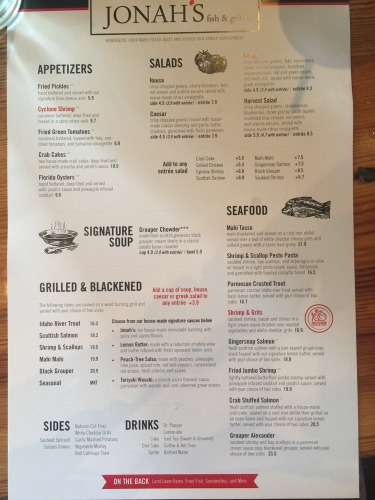 I could order 1 of everything on this menu yelp for Fish and grits near me