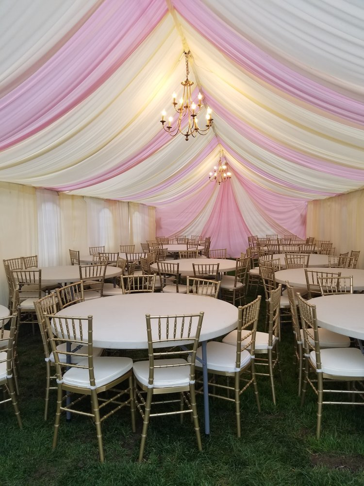 Photo of Glam Spot Events - Anaheim CA United States. 20x40 tent fully & 20x40 tent fully draped with Gold Chavari Chairs - Yelp
