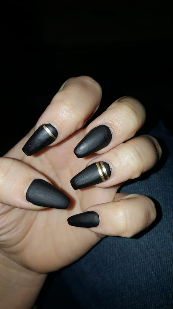 Contemporary Black Coffin Matte Nails Ornament - Nail Art Ideas ...