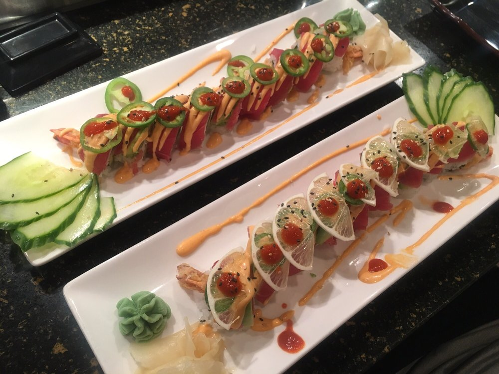 These are both the fire roll one we added lemon too to for Aloha asian cuisine sushi