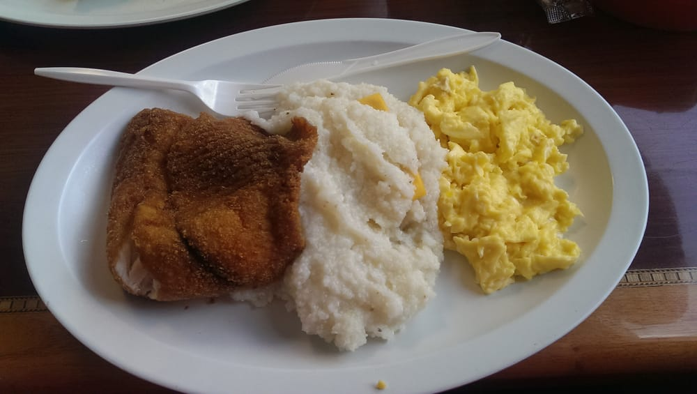 Fried tilapia with grits and scrambled eggs yelp for Fish and grits near me