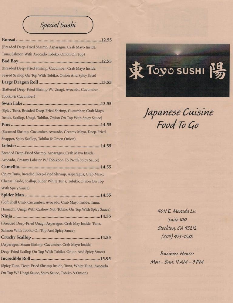 Online Menu Of Toyo Sushi Restaurant Stockton California