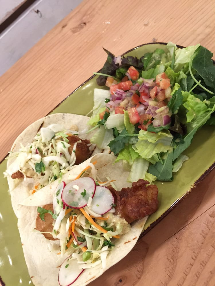 Signature fish taco and side salad yelp for Sides for fish tacos