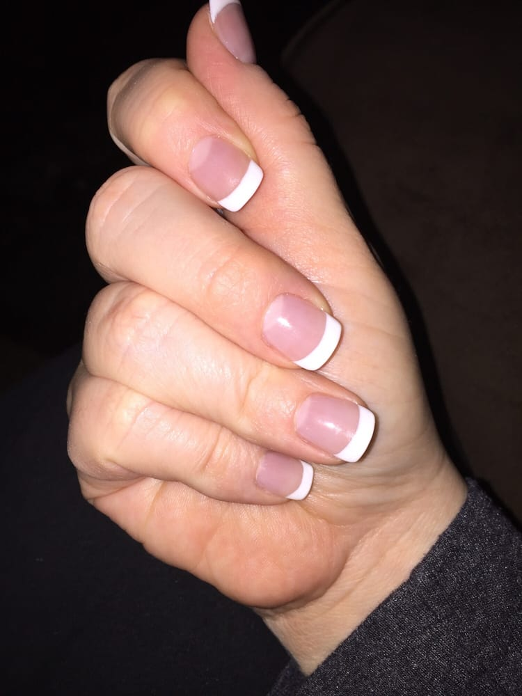 Natural thin acrylic nail with gel French manicure. Nails by Amie - Yelp