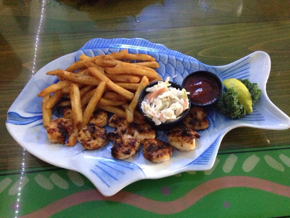 Blackened shrimp dinner with cole slaw and fries yelp for Sanibel fish house