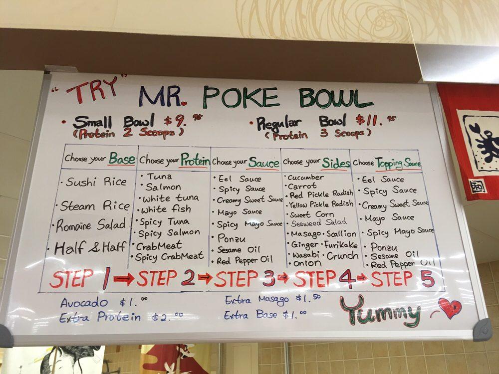 New mr poke bowl yelp for Mr fish menu