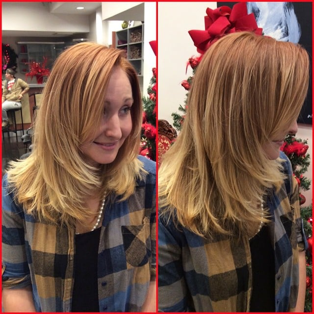 Lavender blonde balayage melted on a copper base and side for A la mode salon brooklyn