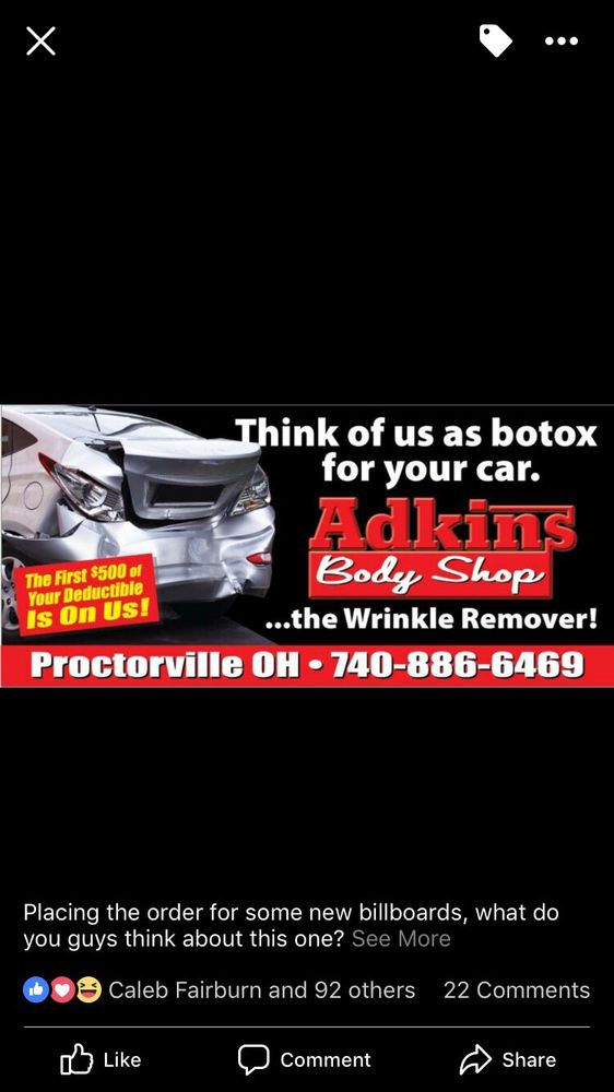 Adkins Body Shop: 135 Township Rd 1151, Proctorville, OH