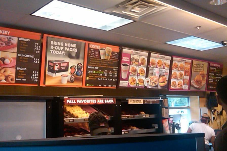 Menu Board At Dunkin Donuts Yelp