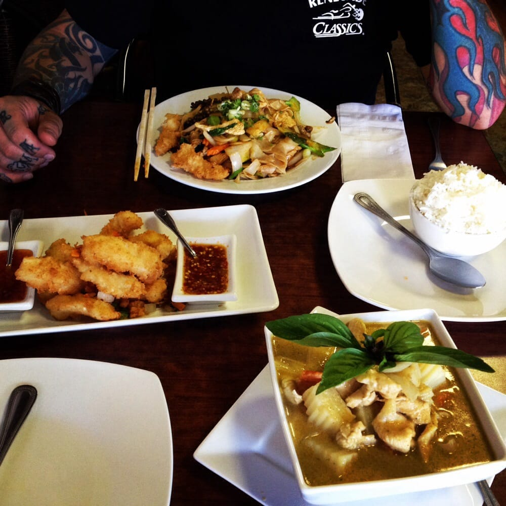 Drunkin noodles fried calamari and yellow curry yelp for Ano thai lao cuisine