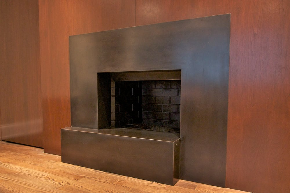 Blackened Steel Fireplace Surround With Custom Bronze Patina