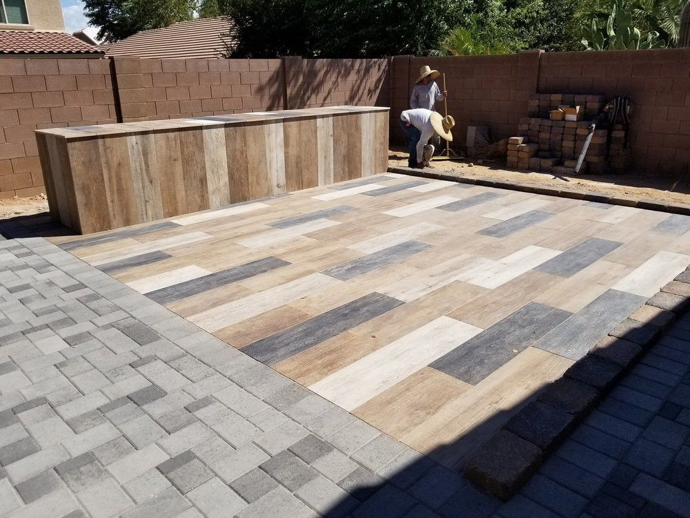 Mirage Porcelain Pavers Color Is Noon Wood Grain Finish Yelp