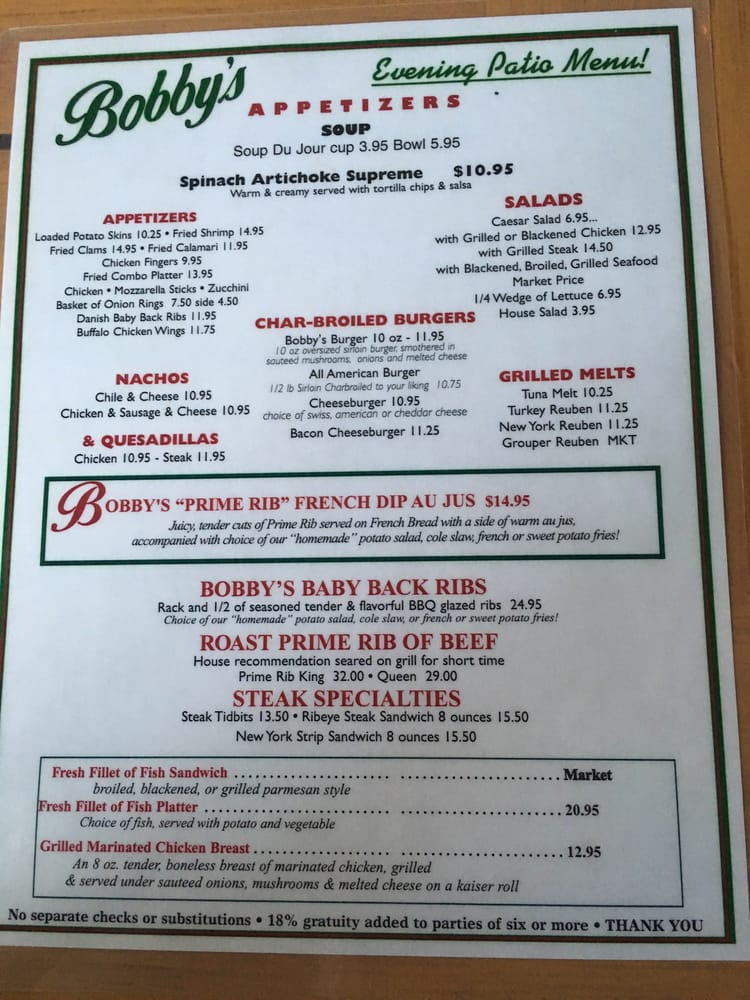 Bobby S Restaurant Menu Vero Beach